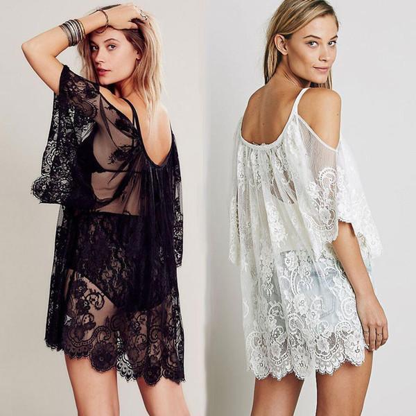 top popular 2018 Women Beach Dress Sexy Strap Sheer Floral Lace Embroidered Crochet Summer Dresses Hippie Boho Dress Vestidos Beach Wear 2020