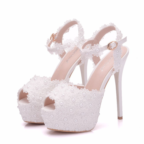 New white lace flowers buckle peep toe shoes for women high heels fashion stiletto heel wedding shoes Platform pearls Bridal sandals