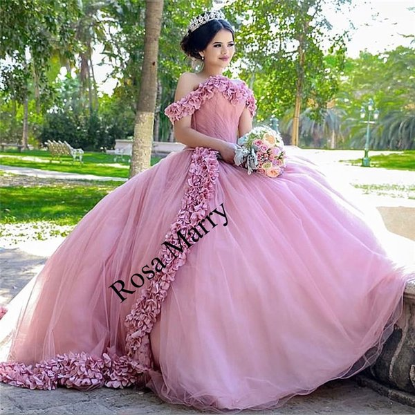 Pink Sweet 16 Masquerade Quinceanera Dresses 2020 Ball Gown Off Shoulder Hand Made 3d Flowers Vestidos 15 Anos Plus Size Pageant Prom Gowns Maid Of