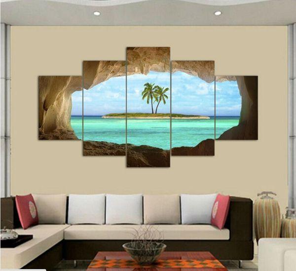 2017 Wandkunst Ölgemälde Ungerahmt 5 Stücke höhle meer insel kokospalme Malerei Malerei Dekoration Bild Leinwand