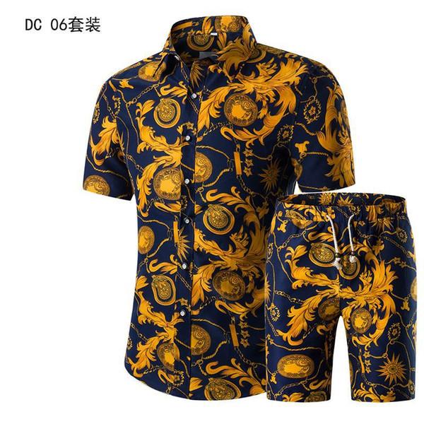 Camicia a maniche corte set da uomo stampata estate nuovi abiti da uomo vestito monopetto Button Fly Casual Full Cotton