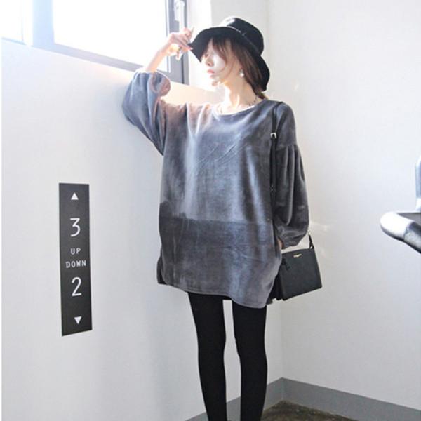 EWQ 2018 new Korean fashion lantern sleeves women clothing round neck autumn and winter velour loose wide sweatshirt WC06501