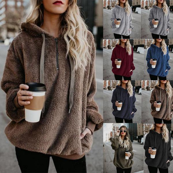Women Plush Sherpa sweater 14 colors Sweatshirt fashion Pullover Autumn Winter Zipper pocket Hoodies woman Tops Maternity Clothing C5520