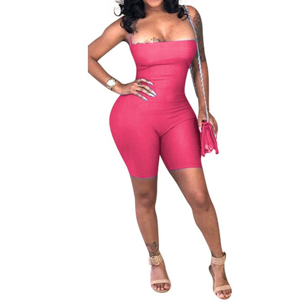 Sexy Bodycon Romper Womens Jumpsuit Spaghetti Strap Sleeveless Skinny Elegant Overalls Sexy Backless Lace Up Short Playsuits