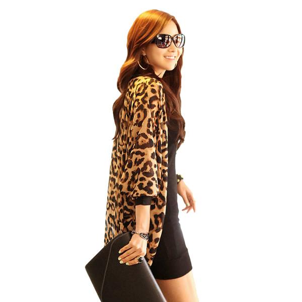 Sexy leopardo kimono cardigan mujeres moda mujer gasa camisa leopardo blusas largas sueltas batwing manga larga blusa 2018