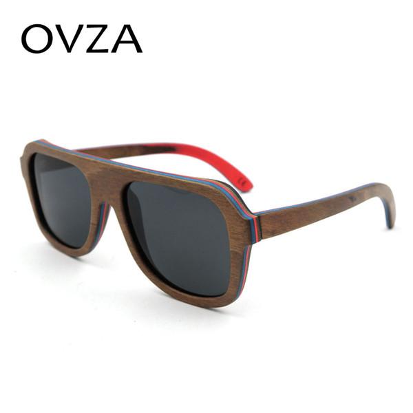 OVZA High-end Wooden Sunglasses Mens Wood Polarized Sunglasses Driver G Female Rectangle gafas de sol polarizadas S7065