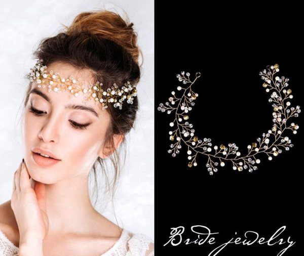 Gold bride, handmade pearl hair, crystal headwear, wedding dress accessories, accessories, bride accessories