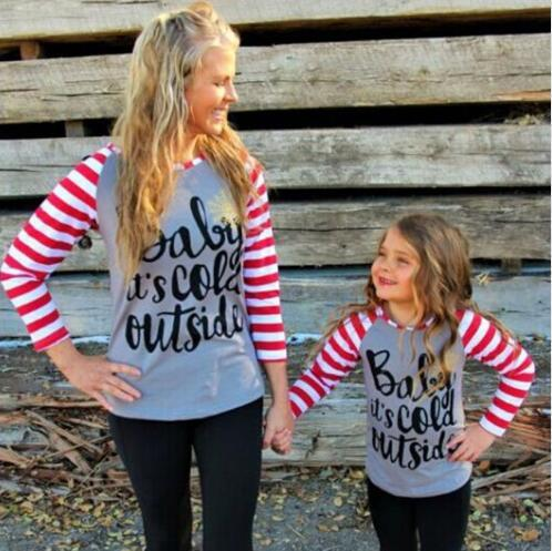 Family Matching Outfits Mom and Daughter Long Sleeve Letter Stripe Matching T Shirts Parent-child Casual Cotton Family Clothes