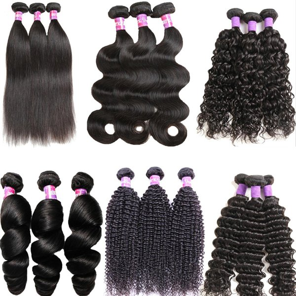 Grade 6A Human Hair Weaves 3/4 Bundles 8-26 Inch Brazilian Remy Hair Loose Wave Afro Kinky Body Straight Hair Wefts