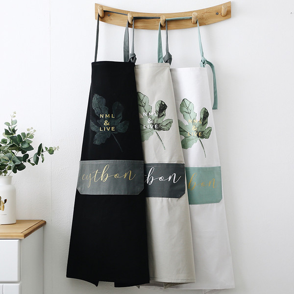 Nordic style all-cotton fabric apron oil-proof cleaning apron kitchen home coffee shop bakery half