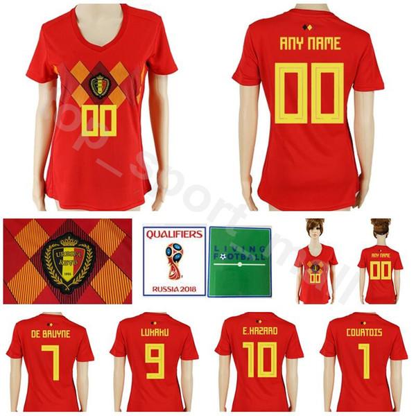 45db6c2e5 Women Belgium Jersey 2018 World Cup Soccer 10 HAZARD 7 DE BRUYNE 9 LUKAKU  Football Shirt