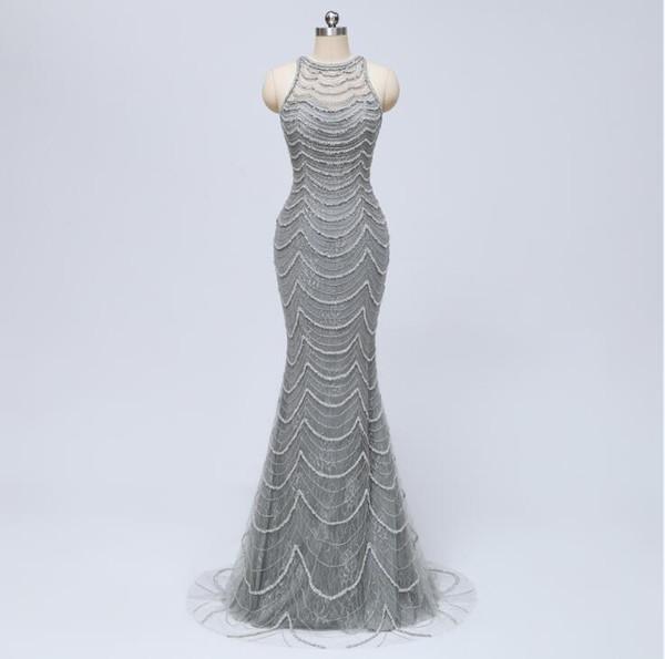 2019 tul gris sirena vestidos de baile slim fit cuello palabra de longitud del piso mangas Sexy blusa con cuentas vestidos de noche formal vestido de fiesta WJ24569
