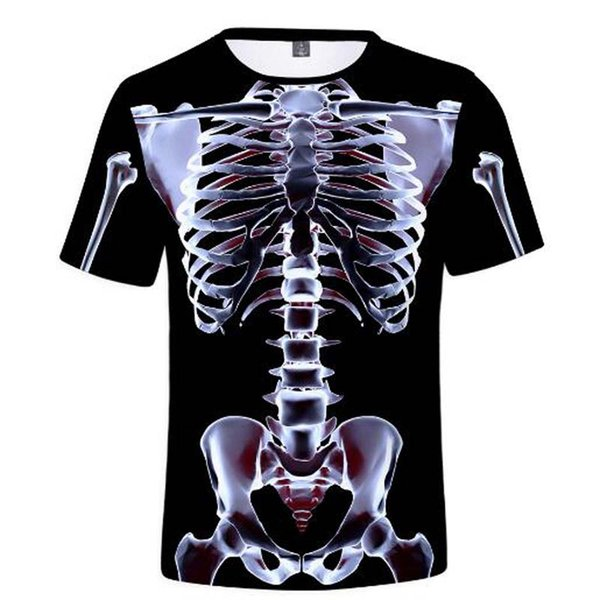 Rayos X perspectiva hueso Impresión 3D Cool Manga corta Popular camiseta Hombres Mujeres Verano Casual Algodón Camiseta Ropa Homme