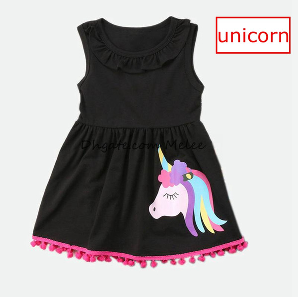 top popular INS Summer Girls Unicorn print Tassels Dresses kids Cotton Black Lotus leaf Casual Dress Princess dresses party dress Children Clothing 1-7Y 2020