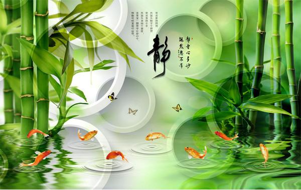 Frais de détail personnalisé et belle santé vert salon loisirs 3D TV fond mur poisson sauter Longmen Cuizhu papillon mural