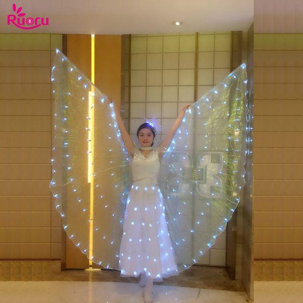 Ruoru Belly Dance Led Isis Wings con palos ajustables Accesorios para adultos Escenario Performance Props Shining Led Wings 360 grados