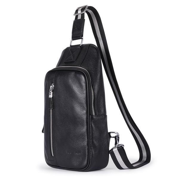Baellerry High Quality Men Genuine Leather Chest Back Day Pack Fashion Vintage Sling Messenger Shoulder Bag Travel CrossBody Bag