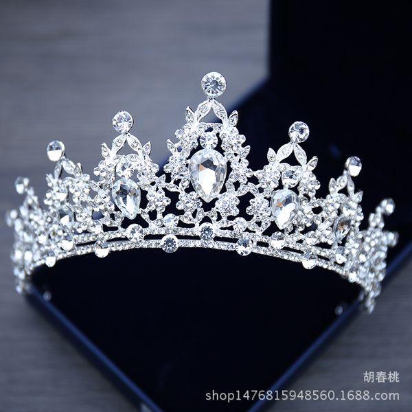 top popular Bridal Jewelry Tiara Headpieces White Crystal Crown Bride Princess Crown Headpiece For Wedding Dress 2018 Wedding Bridal Accessories 2021