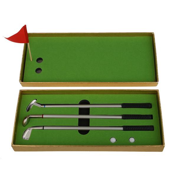 3Pcs Golf Outdoor Clubs Models Ballpoint Pen 2 Golf Balls Flag Putter Set Gift Three Colors High quality
