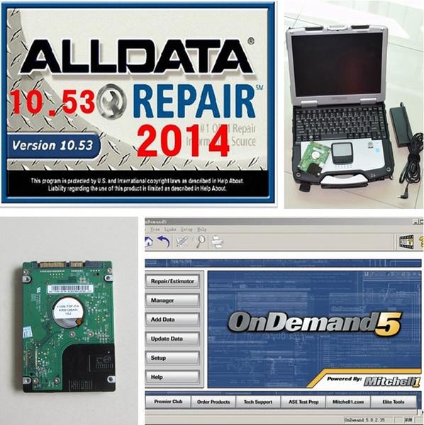 Alldata und Mitchell OnDemand Auto Repair Alle Daten 10.53 ATSG in 1 TB neue Festplatte mit Laptop CF-30 CF30 Toughbook Touchscreen installiert