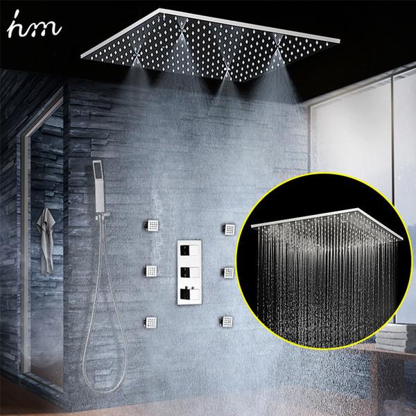 Sistema de chorro de ducha de masaje termostato de 4 vías oculta Panel de espejo de 360 * 500 mm empotrado en el techo Doble lluvia y conjunto de cabezal de ducha Misty 20180927 #