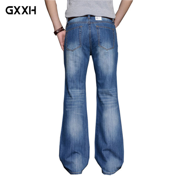 2018 Mens Big Flared Jeans Boot Cut Leg Flared Loose Fit high Waist Male Designer Classic Denim Jeans Pants Bell Boom