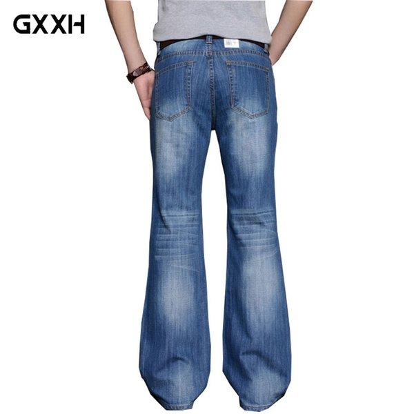 2018 Mens Big Flared Jeans Boot Cut Leg Flared Loose Fit high Waist Male Designer Classic Denim Jeans Pants Bell Boom