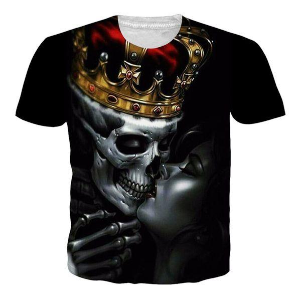 New Arrival Skull Crown King Kiss of Ghost 3D T Shirt Men/Women Fashion Hip Hop Streetwear Tops Tees Casual All Over Print Tshirt U876