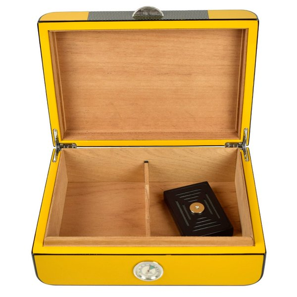 Yellow Cedar Wood Cigar Humidor with Cigar Hygrometer & Humidifier Can hold 20 -30 cigars Best for gift