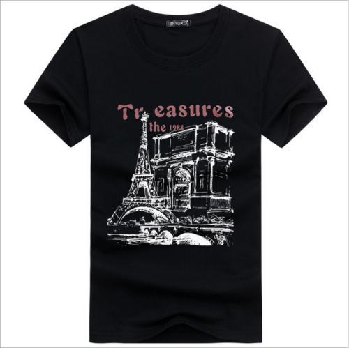 Maglietta casuale del bicchierino del cotone di modo degli uomini famosi di marca famosa degli uomini Maglietta sottile alla moda stampata degli uomini divertenti stampati