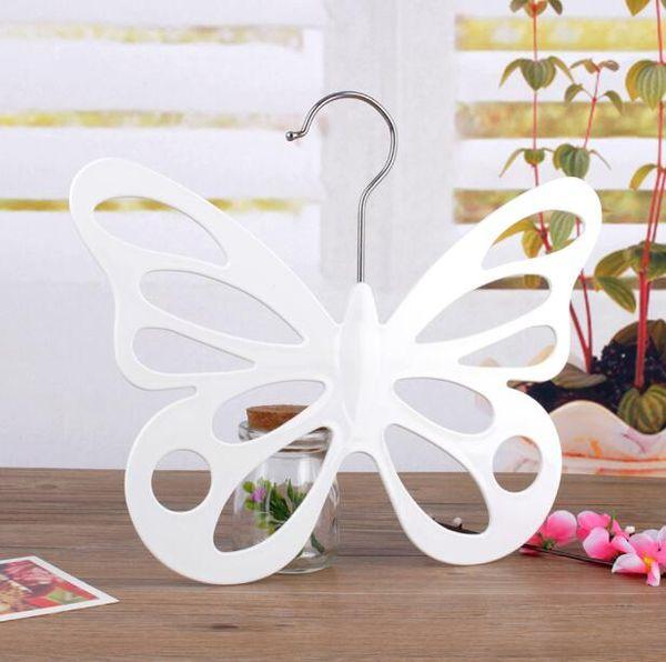 New Style Butterfly Scarf Hanger White Plastic Scarf Hanger Organizer Necktie Belt Closet Storage Holder Hook Free Shipping