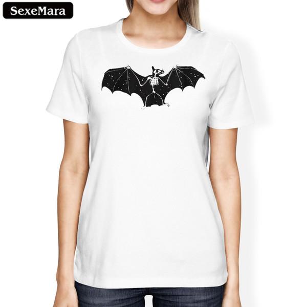 Frauen-T-Stück-Schläger-Druck-T-Shirt Frauen 2018 Kurzhülse Emoji lustige Karikatur-T-Shirts Grafik-T-Stücke Oberseiten-weibliches T-Shirt Halloween-T-Shirt
