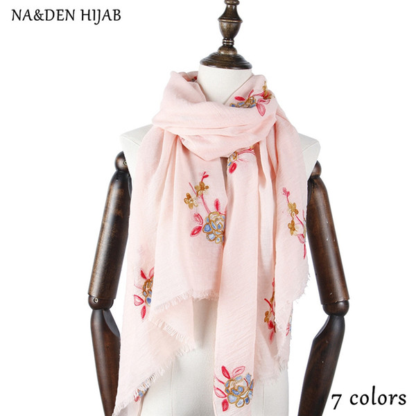 NEW summer embroidery hijab scarf flower fashion women scarves and shawls popular floral brand wrap soft muffler islamic hijabs