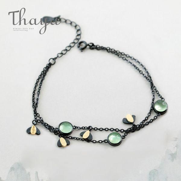 Thaya Firefly Bracelet s925 Silver Green Crystal Gemstone Cadena Negra Joyería de Noche de Verano para Mujeres Guardian Spirit Regalo