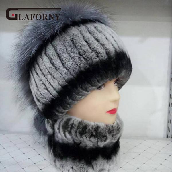 Glaforny 2018 New Women Real Rex Rabbit Fur Hat Scarf a Set Women Fashion Fur Caps with Sier Fox Fur Tops