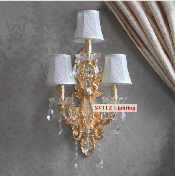 svitz 3 lights Roman led wall lamp modern crystal wall light with lampshades Villa hotel bedroom crystal Wall Sconce interior lighting