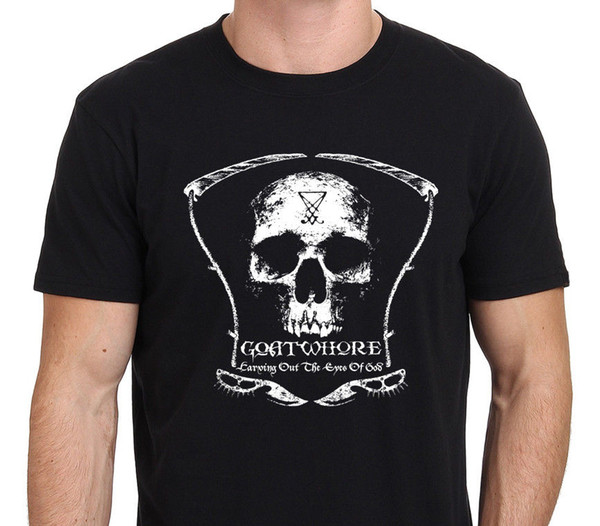 T-Shirt Goatwhore Skull Carving Out The Of Eyes God T-Shirt Uomo T-Shirt 3XL Prezzo più basso 100% Cotone