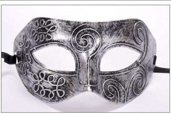 Halloween Costume Party Mask Roman Carve Patterns Vizard Mask Gentleman Half-face Nask Christmas Birthday Party Face-piece Prince Sir Mask