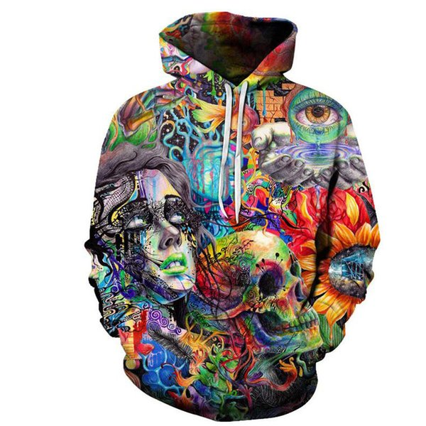 New Paint Skull 3D Printed Hoodies Men Sweatshirts Hooded Pullover Brand Top Quality Tracksuits Boy Coats Fashion Outwear
