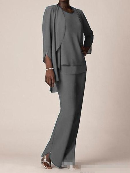 Grey Chiffon Formal Pant Suits For Mother Groom Dresses 2018 Evening Wear Long Mother of the Bride Dresses With Jackets Plus Size Custom