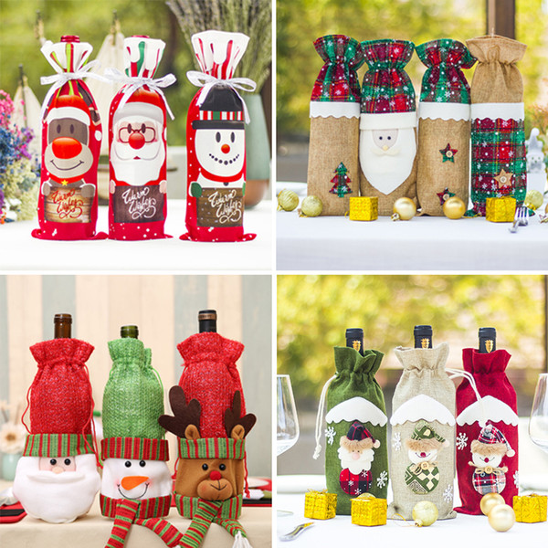 Christmas Wine Bottle Cover for Home Party Table Decoration Santa Claus Wine Bottle Holder Bag 2019 New Year Decoration Y18102609