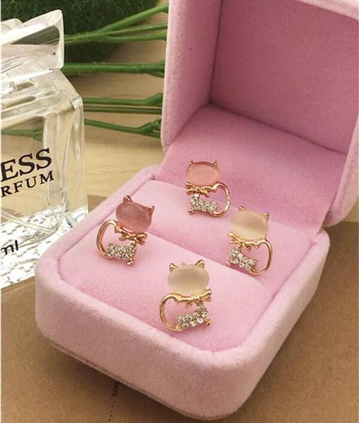 30 paires, Nouveau style Insertion de diamant bijoux Boucles d'oreilles design cristal stud Oeil de chat pierre boucles d'oreilles Petite forme de chat Ne se fanent pas zircon Boucles