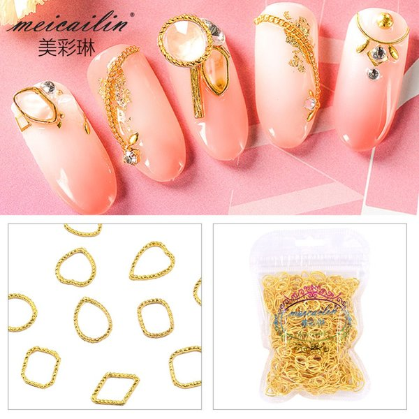 20Pcs/Lot Japan Gold Hollow Frame Heart-shaped Rivets Studs Round Metal Alloy Nail Art Decorations 3D DIY Nail Stickers/Charms