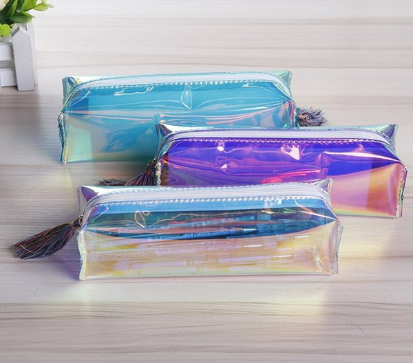 Laser Clear PVC Pen Case Pencil Bags Pouch - Tassel Cute Transparent Pencil Box For Girls - Womens Cosmetic Bag School Office Supplies
