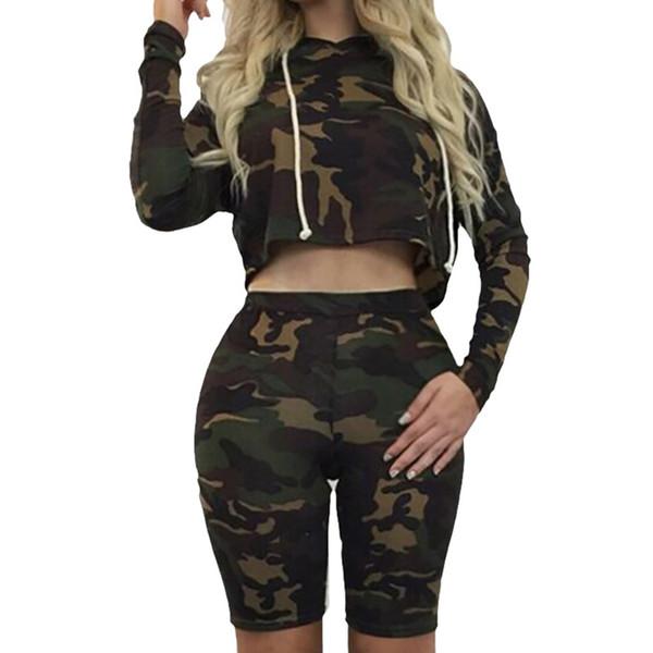 Due pezzi Set Estate Tuta da donna Abbigliamento Camouflage Felpe Pullover Lunghezza al ginocchio Pantaloncini Felpe Tops estivo da donna