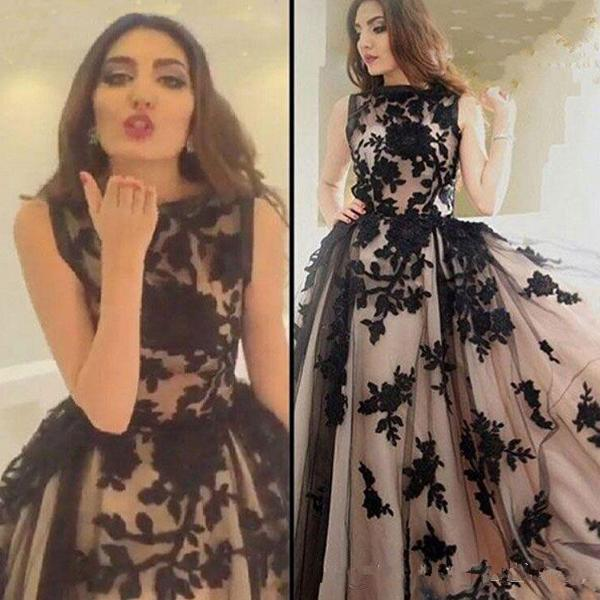 Classical Black Lace Applique Tulle Champagne Lining Evening Dressses with Sleeveless Zipper Back Long Formal Prom Gowns