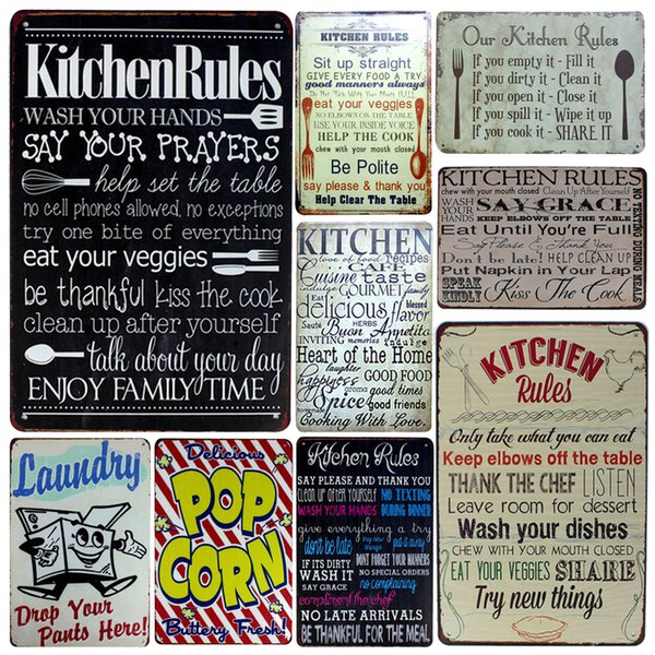 2019 inFour+Kitchen Rules Metal Signs Family Rule Home Decor Vintage Tin  Signs Pub Vintage Decorative Plates Metal Wall Art Plaques From Greenliv,  ...