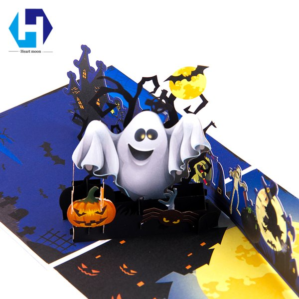 3D colorful printing pop up hallowmas greeting Pumpkin card laser cutting envelope postcard hollow carved handmade kirigami gift