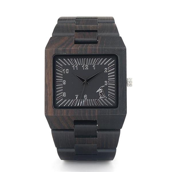 BOBO BIRD Ebony Wooden Mens Watches Cool Square caja de madera banda 2035 movimiento reloj de cuarzo aceptar OEM Customization 2018 Fashion Gift