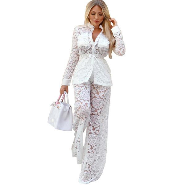 Newest European Women Fashion Sexy Lace Long Sleeve Bodysuit Two Pieces Wide Leg Pants Elegant White Set